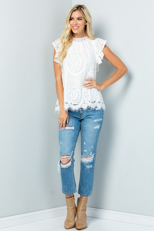 The Rosemarie - Women's Lace Top in White