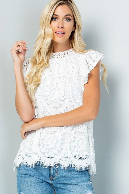 The Rosemarie - Women's Plus Size Lace Top in White