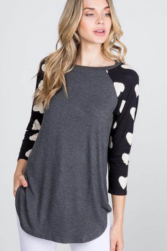 The Karina - Women's Top with Black Sleeves