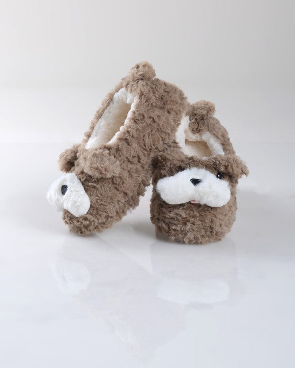 Furry Dog Faux Sherpa Slippers