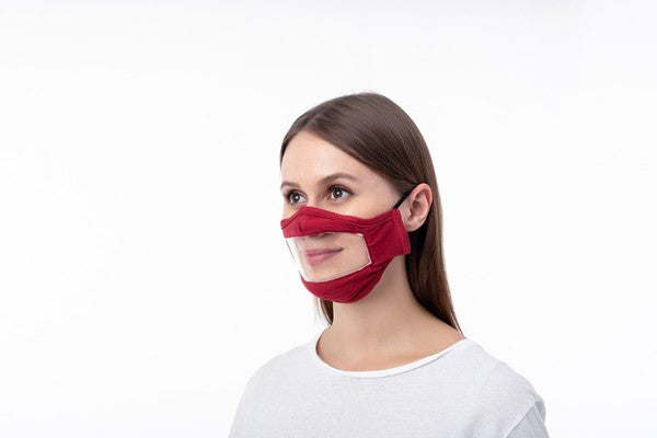 Face Mask with Clear Window - Adult Size - 2 Pack