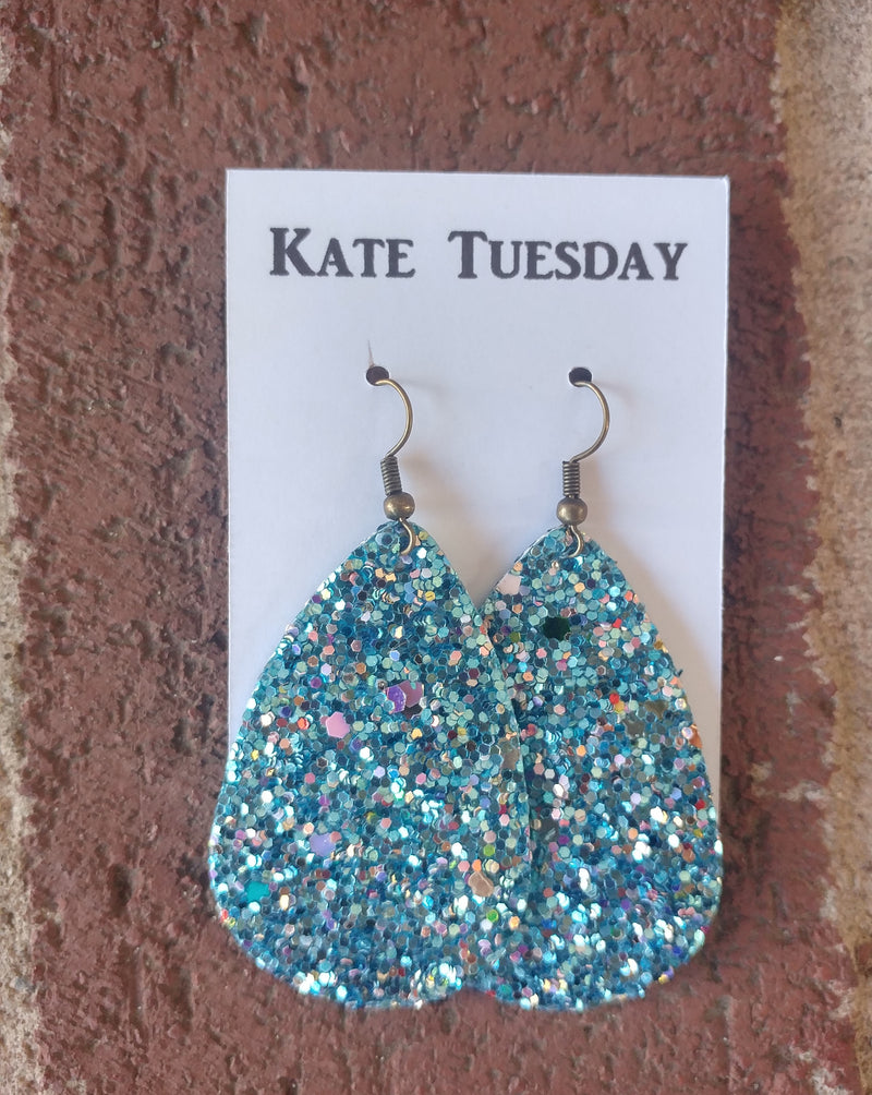 Turquoise Blue Glitter Teardrop Earrings