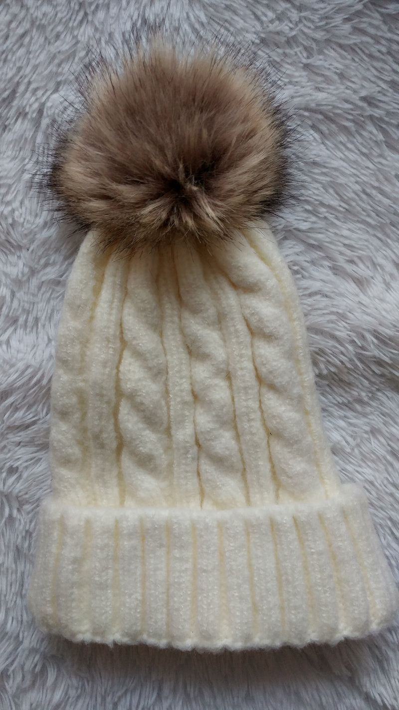 Cable Knit Hat with Faux Rabbit Fur Pom Pom