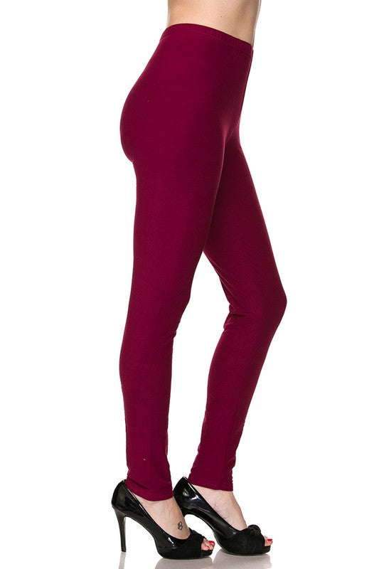Solid Burgundy - Women's One Size Leggings