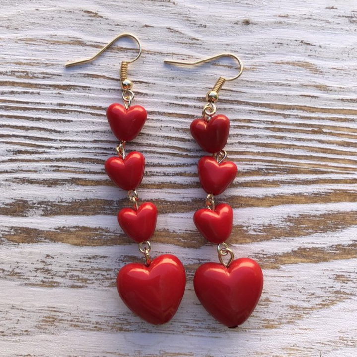 Heart Tier Hang Earrings