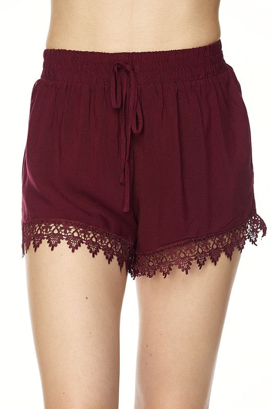 Women's Burgundy Plus Size Shorts - Apple Girl Boutique