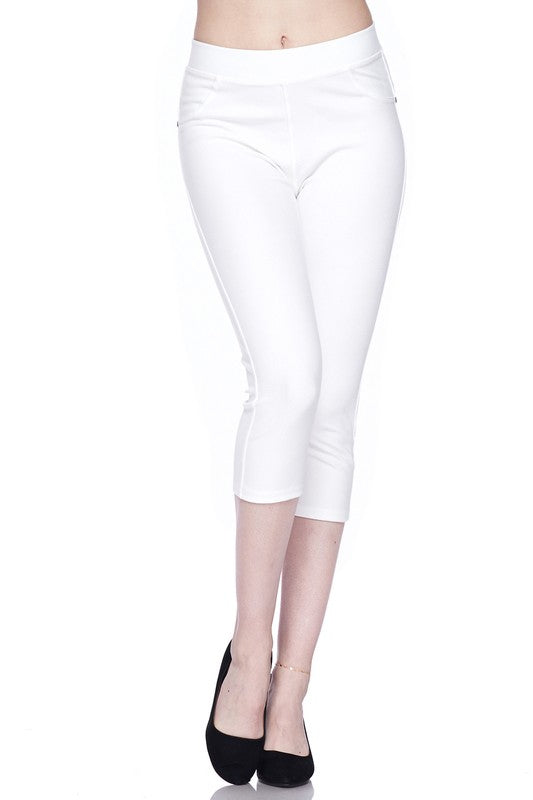 Fashionista Capri Jeggings - Women's One Size in Bright White