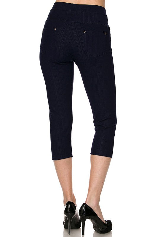 Fashionista Capri Jeggings - Women's One Size in Navy Blue