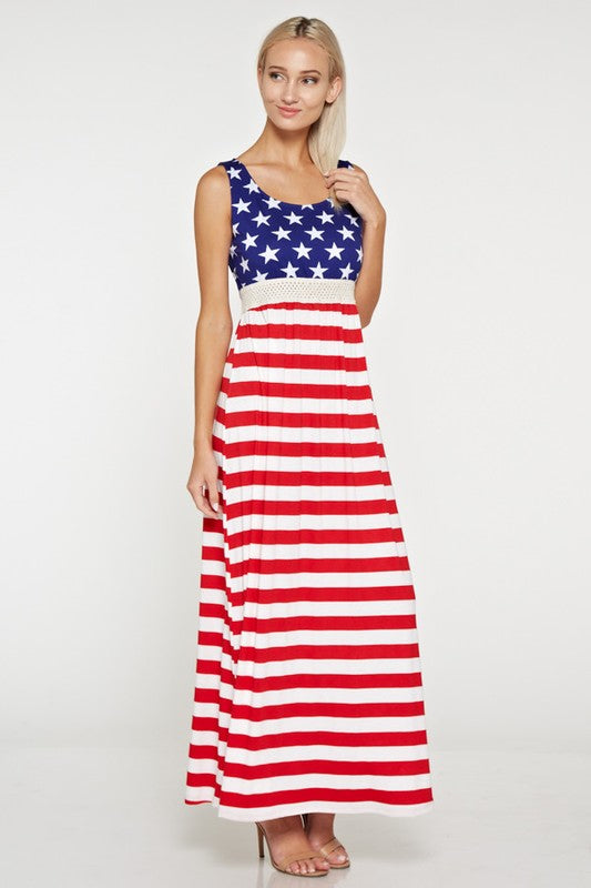 Women's Plus Size Stars and Stripes Maxi Dress - Apple Girl Boutique