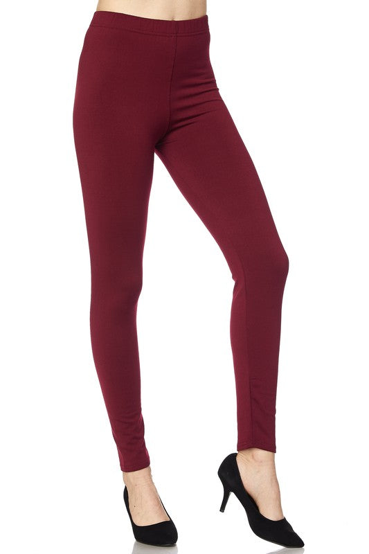 Solid Burgundy Fleece Lined Leggings - Women's Size