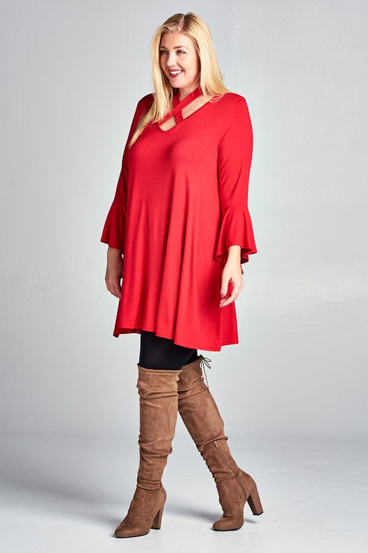 The Justine - Women's Plus Size Halter Top Tunic Dress in Red