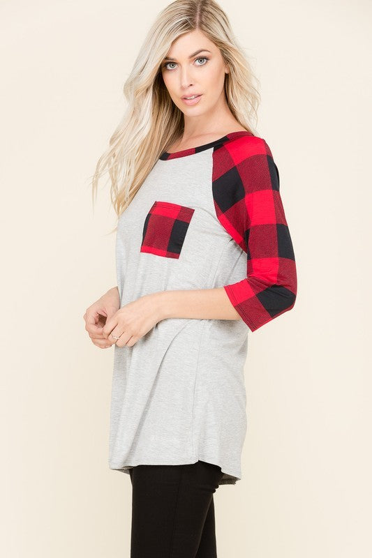 The Dakota - Women's Buffalo Plaid Raglan Top