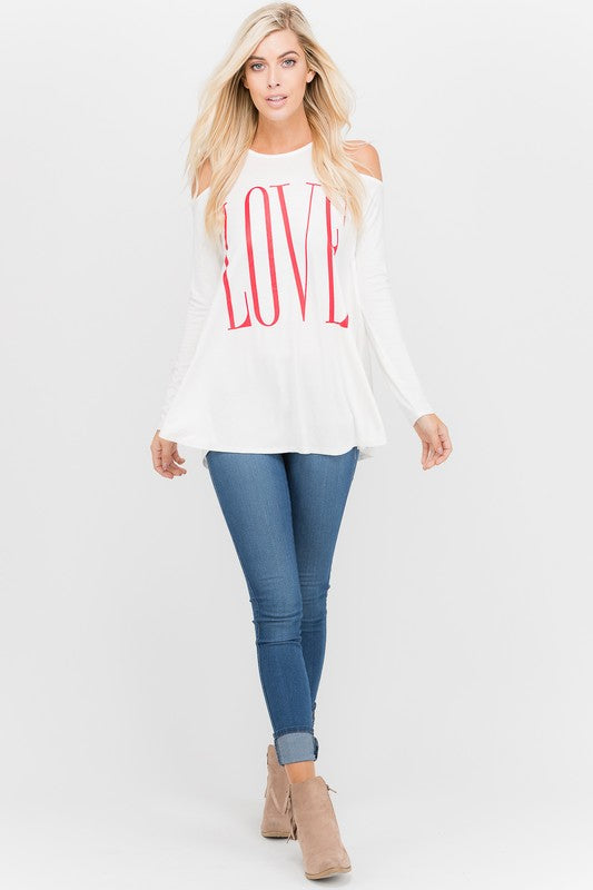 Love Graphic Cold Shoulder Tunic in Ivory - Women's