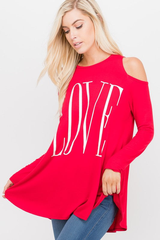 Love Graphic Cold Shoulder Tunic in Red - Women's Plus Size