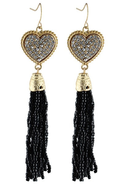 Crystal Heart Tassel Earrings