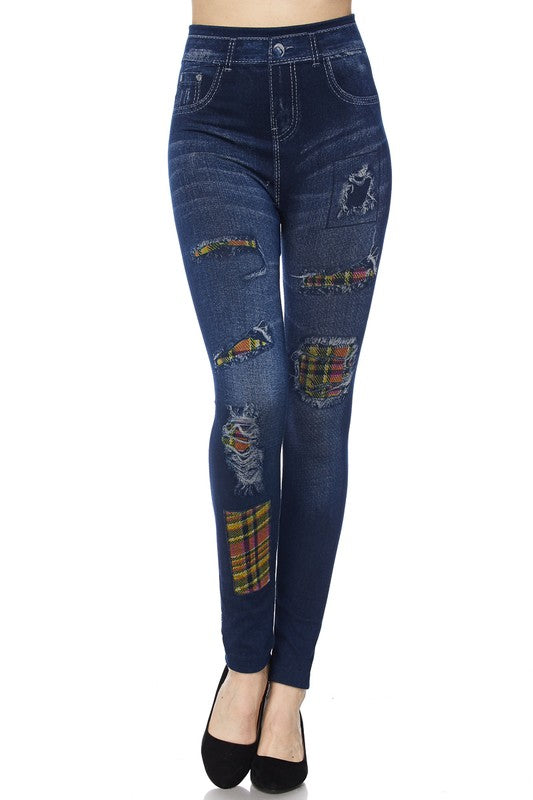Distressed Jeggings with Plaid Highlights - Women's One Size