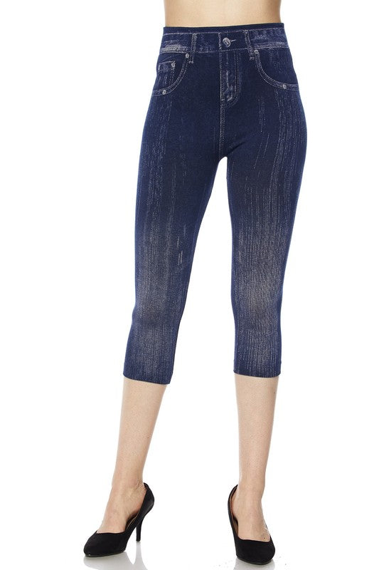 Distressed Denim Capri Jeggings - Women's One Size