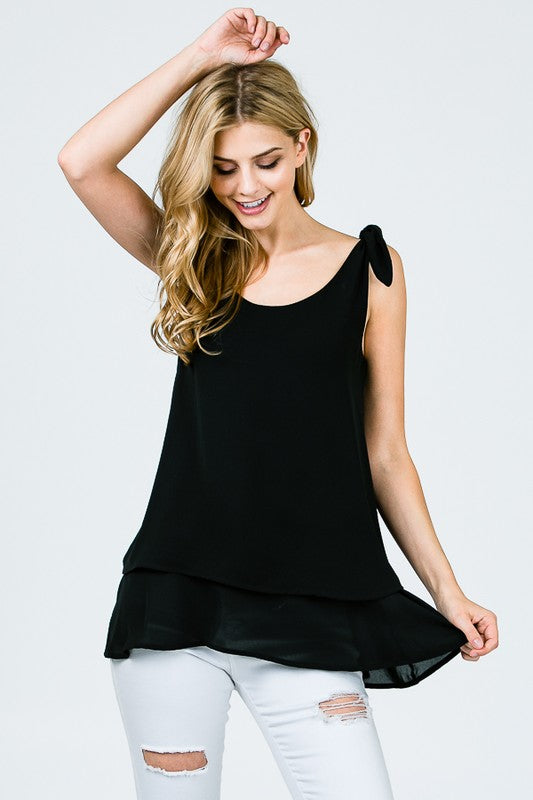 The Penelope - Women's Layered Blouse in Black
