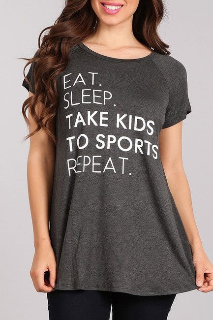 Eat Sleep Take Kids to Sports - Women's Tunic Top in Heather Gray