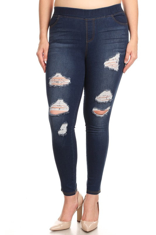 Denim Washed Ripped Jeggings - Women's Plus Size