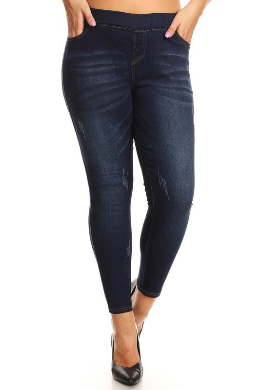 Dark Denim Distressed Jeggings - Women's Plus Size