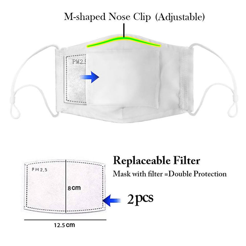Graphic Face Mask with Removable Filter - Various Prints