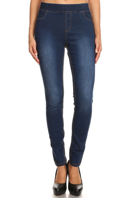Dark Navy Distressed Jeggings - Women's
