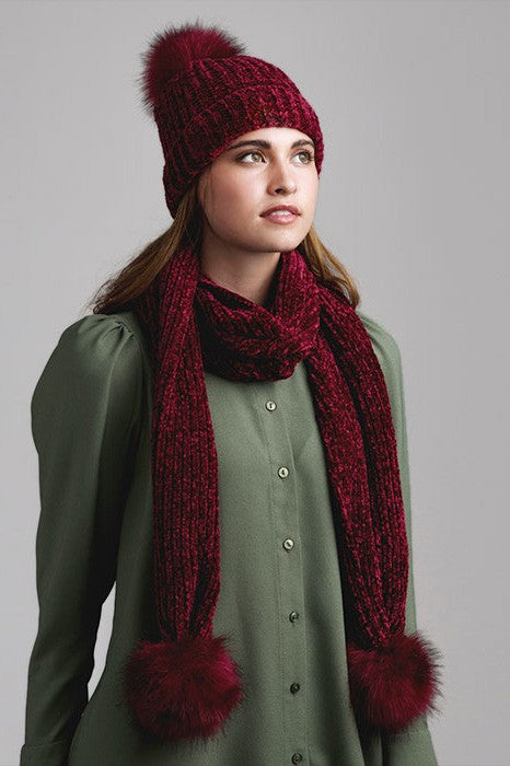 Chenille Faux Pom Pom Hat & Scarf Set