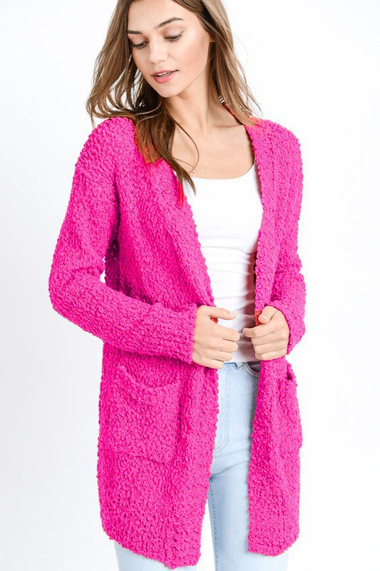 The Sammy - Women's Cardigan in Fuchsia