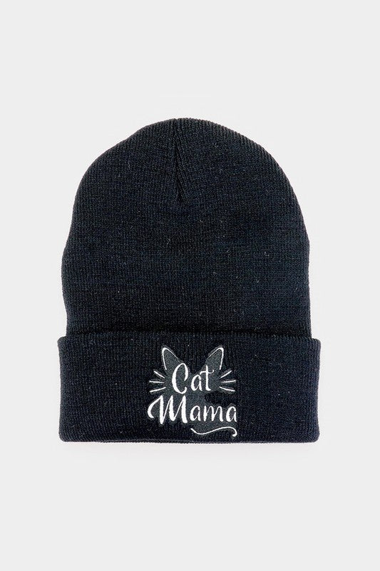 Cat Mama Beanie Hat in Black