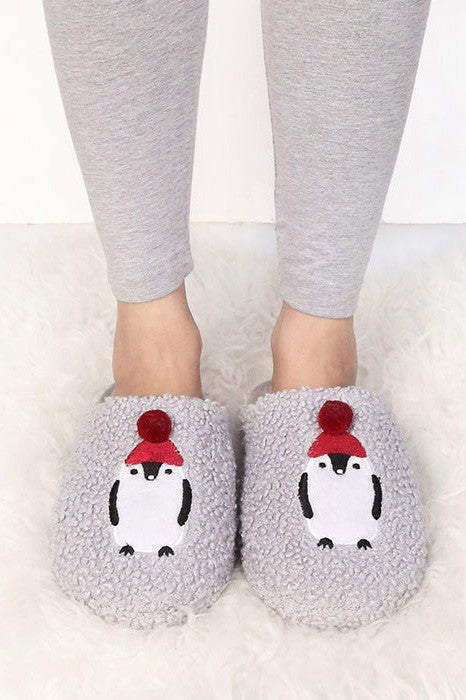 Slip On Penguin Slippers - Women's