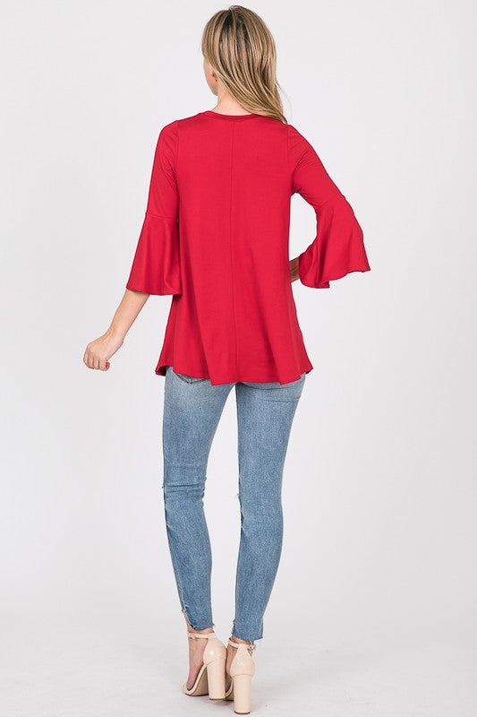 The Joy - Women's Plus Size Top in Red