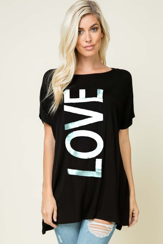 Big Love Graphic Tunic in Black - Women's Plus Size Top