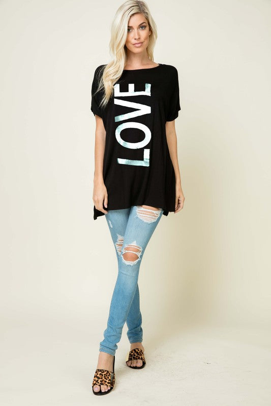 Big Love Graphic Tunic in Black - Women's Top