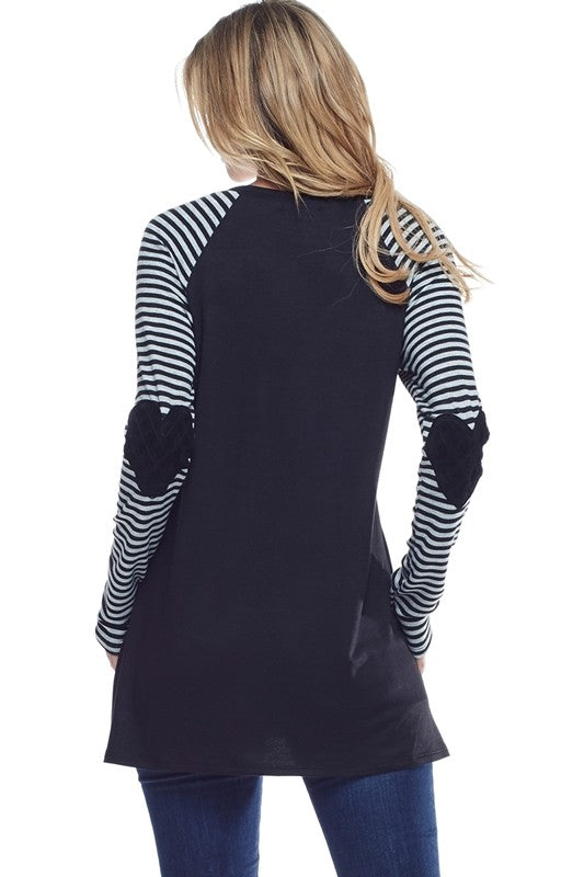 Love Tunic with Striped Sleeves - Women's Top