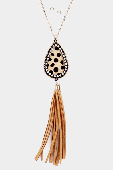 Leopard Leather & Crystal Teardrop Necklace
