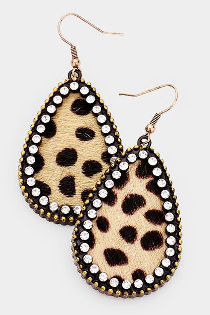 Genuine Leather & Crystal Leopard Teardrop Earrings