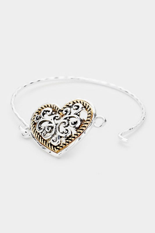 Metal Filigree Heart Hook Bracelet