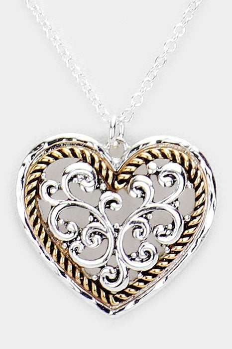 Metal Filigree Heart Pendant Necklace and Earrings