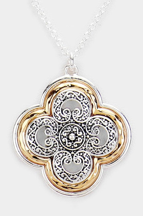 Metal Filigree Quatrefoil Pendant Necklace and Earrings