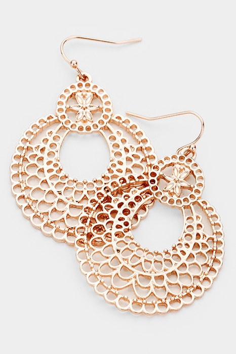 Round Scalloped Metal Filigree Earrings in Rose Gold