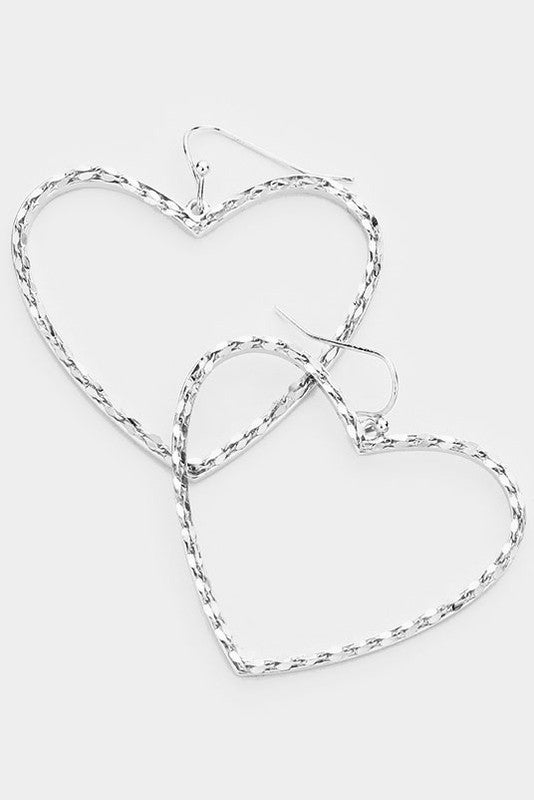Metal Chain Heart Hoop Earrings