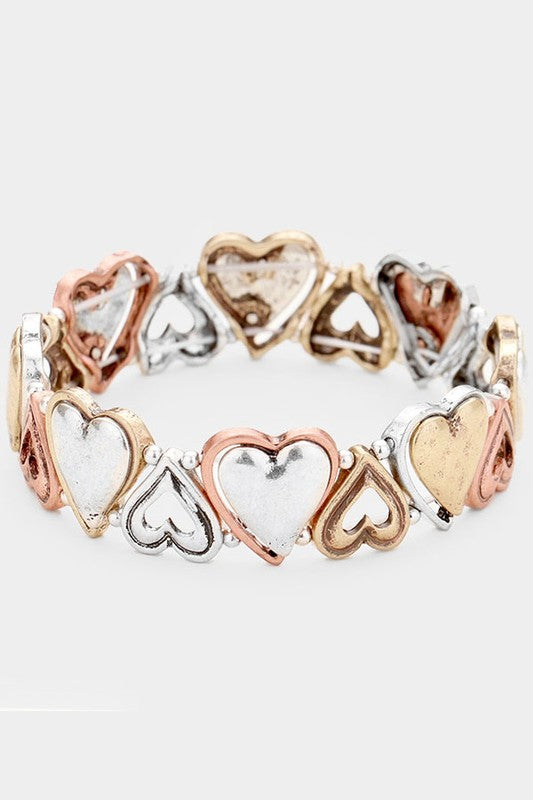 Tri-Tone Metal Heart Stretch Bracelet