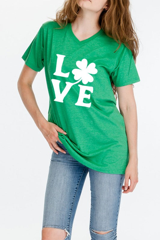 Love Shamrock V-Neck Graphic Tee - Women's