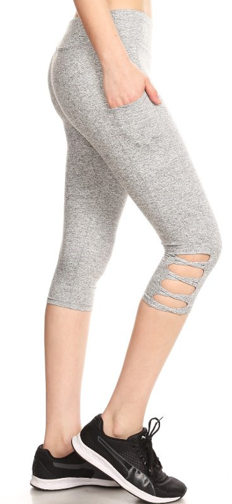 Light Gray Speckled Athletic Capris - Women's