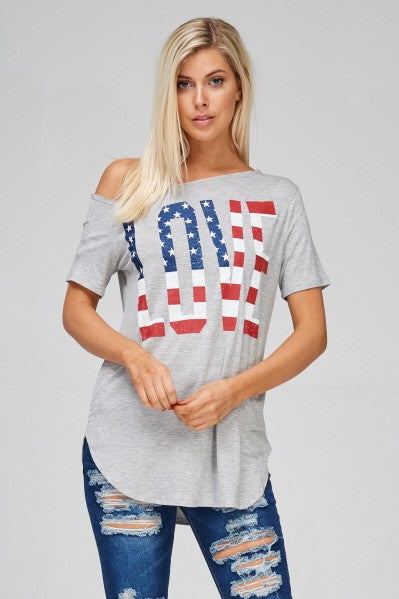 American Flag Love Top in Heather Gray - Women's