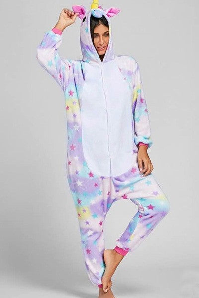 Starry Night Rainbow Unicorn Onesie Pajamas - Adult Unisex