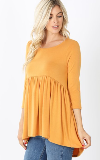 The Annie - Women's Plus Size Top in Mustard