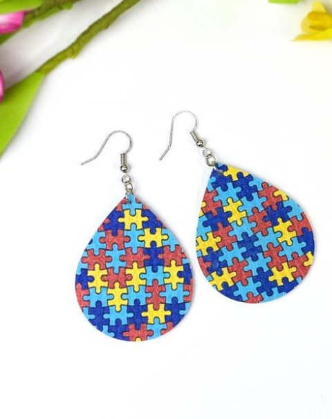 Autism Awarness Tear Drop Earrings