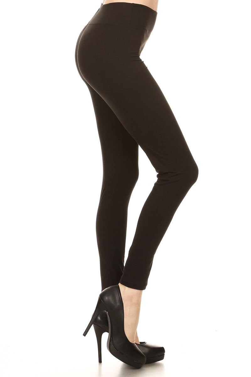 Solid Black Leggings with Yoga Style Waist - Women's Plus Size